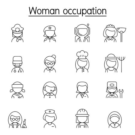 Woman Occupation, Profession, Career icon set in thin line style 向量圖像