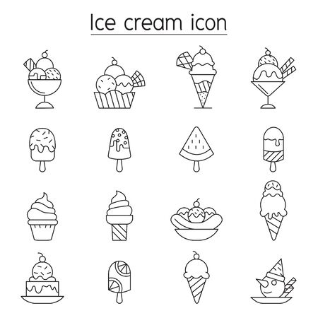 Ice cream icon set in thin line style 矢量图像