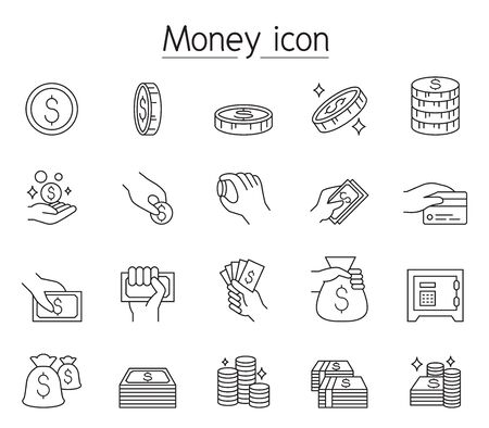 Money, Cash, Coin, Currency icon set in thin line style