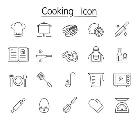 Cooking icon set in thin line style