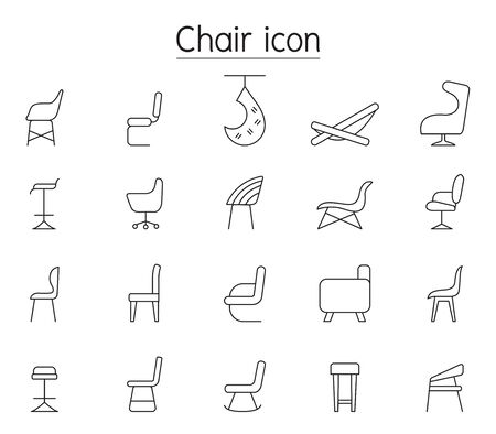 Chair line icons set in side view