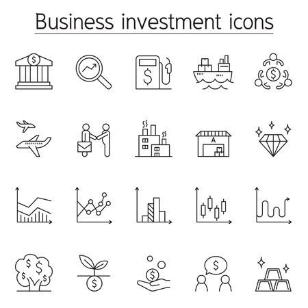 Business investment icon set in thin line style Çizim