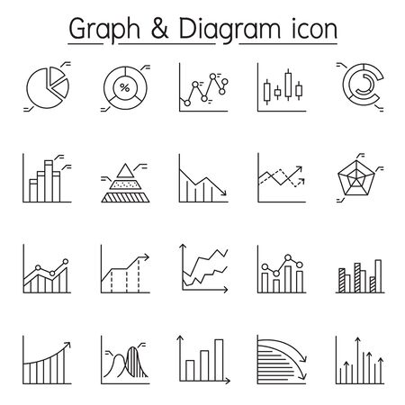 Graph, diagram & chart icon set in thin line style