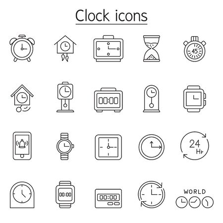 Clock, watch, stopwatch icon set in thin line style