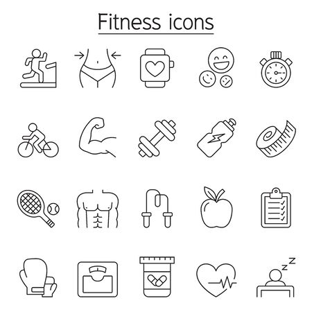 Fitness icon set in thin line style