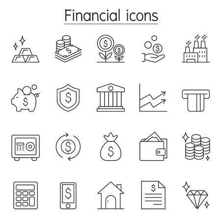 Financial & Banking icon set in thin line stlye