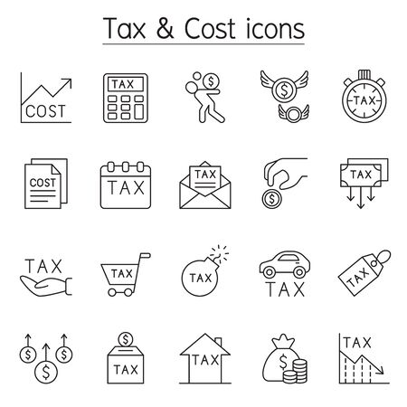 Tax & Cost icon set in thin line style Иллюстрация