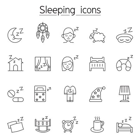 Sleeping icon set in thin line style