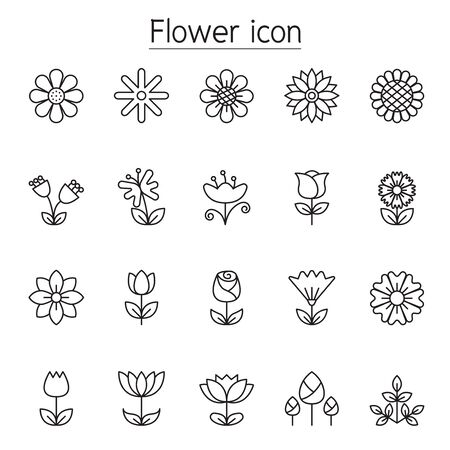 Flower icon set in thin line style