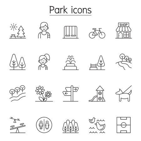 Park icon set in thin line style Ilustração