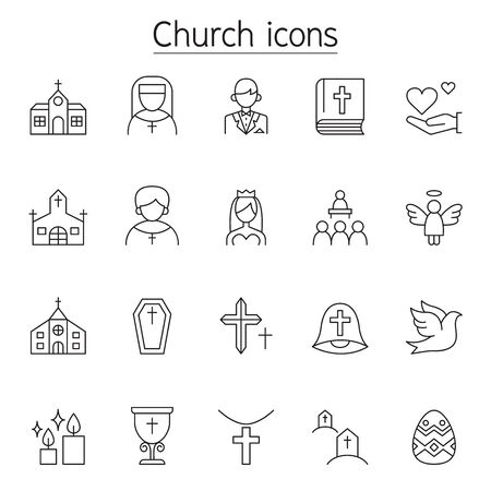 Church icons set in thin line style