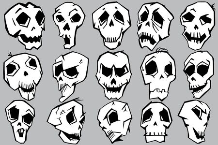 Mix skulls in different emotions  graphic in black and white.