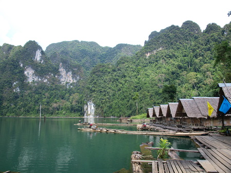 The bungalow and the raft on Chiew Lan lake, Thailand photo