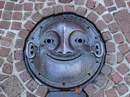 Manhole drain cover on the street at Ghibli museum, Tokyo - Japan