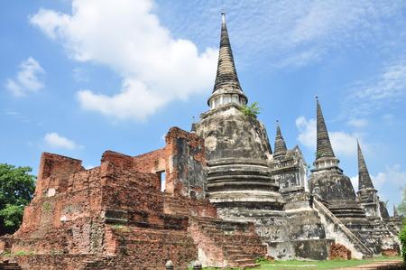 Ancient Buddhist pagoda ruins at Wat Phra Sri Sanphet temple, Ayutthaya, Thailand .