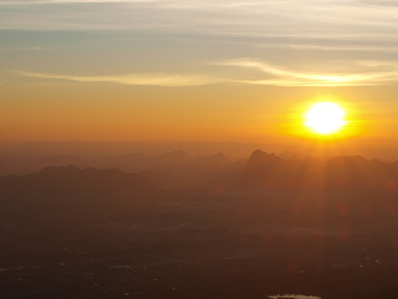 phukradueng: Wonderful sunrise on Pha Nok Aen cliff - location: Phukradueng, Loei province, Thailand. (long exposure)