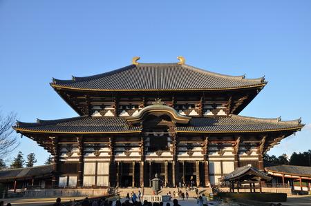 todaiji: NARA, JAPAN - DECEMBER 9: The Great Buddha Hall at Todai-ji temple on December 9, 2012 in Nara, Japan. The temple is an UNESCO World Heritage Site.