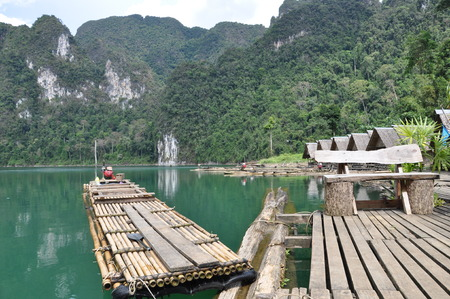 The bungalow and the raft on Chiew Lan lake in Suratthani province, Thailand. photo