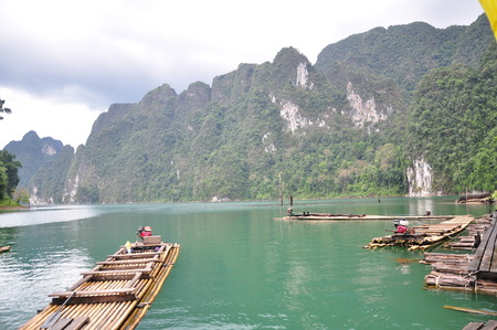 The raft on Chiew Lan lake in Suratthani province, Thailand. photo