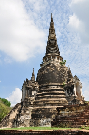 Ancient Buddhist pagoda ruins at Wat Phra Sri Sanphet temple, Ayutthaya, Thailand. photo