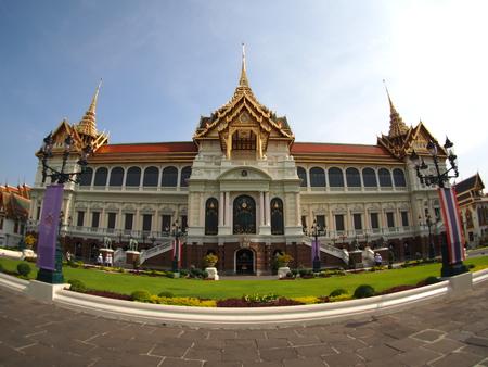 maha: Chakri Maha Prasat Hall in Grand Palace, Bangkok, Thailand. take by fisheye lens