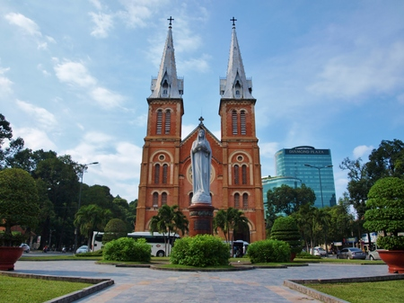 famous building: HO CHI MINH CITY VIETNAM  NOVEMBER 29: NotreDame Cathedral landmark in Ho Chi Minh City Vietnam on November 29 2013. The cathedral is a very famous building in HCMC.