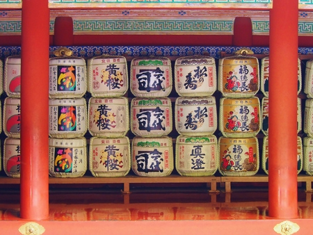 temple tank: Barrels of sake at Toshogu Temple take at Nikko  in Tochigi Japan. Stock Photo