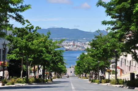prominence: City street at Motomachi in Hakodate, Japan Stock Photo