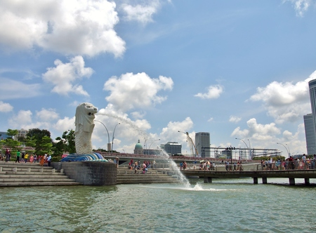 personification: SINGAPORE - MAY 9, 2015 : View of Merlion Statue was taken from Marina Bay. Merlion used as a mascot and national personification of Singapore. Editorial