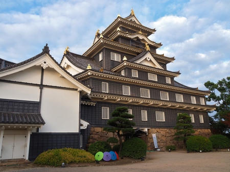 okayama: Okayama Castle in the city of Okayama in Okayama Prefecture,  Japan. The castle is frequently known as Crow Castle U-jo because of its black exterior.