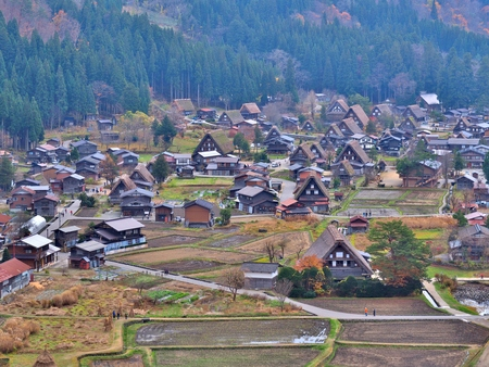 ogimachi: Beautiful aerial view of the historic villages of Shirakawa Shirakawa-go in Autumn Season. Shirakawa-go village is well known for houses constructed in the Gassho-Zukuri Style. Editorial
