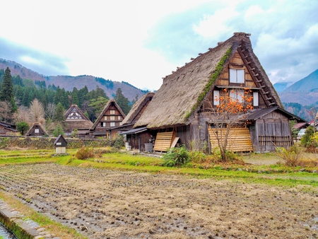 Gassho-Zukuri style, Japan - house with thatched roof in Shirakawa-Go, famous village listed as UNESCO World Heritage Site. Gifu prefecture, Japan.
