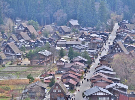 shirakawago: Beautiful aerial view of the historic villages of Shirakawa Shirakawa-go in Autumn Season. Shirakawa-go village is well known for houses constructed in the Gassho-Zukuri Style. Stock Photo