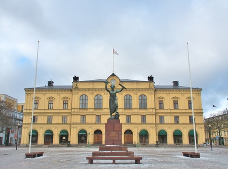 karlstad: KARLSTAD, SWEDEN - FEBRUARY 21, 2016: Peace Monument at Town Square of Karlstad, Sweden. This Monument was erected in 1955 to commemorate the dissolution of the union between Sweden and Norway.