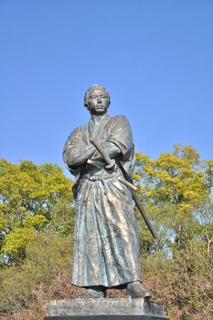 prominent: NAGASAKI, JAPAN - APRIL 6: The statue of Sakamoto Ryoma in Kazagashira Park on April 6, 2014 at Nagasaki, Japan. Sakamoto Ryoma is a prominent figure in Japan. Editorial
