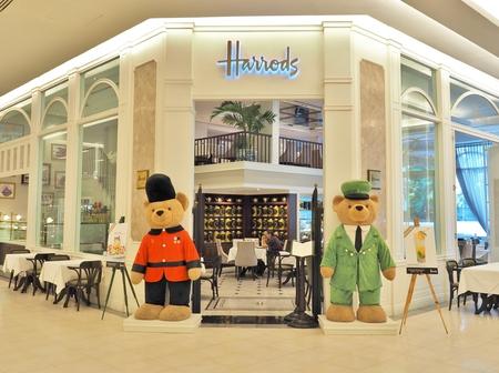 harrods: BANGKOK, THAILAND - MAY 2, 2016 : Harrods Tea Room - restaurant at Siam Paragon shopping mall in Bangkok, Thailand. This restaurant is the third Harrods Tea Room in Asia.