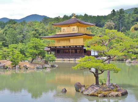 rokuonji: Golden pavilion at Kinkaku-ji temple in Kyoto, Japan. Kinkakuji temple is famous tourist attraction in Japan. Stock Photo