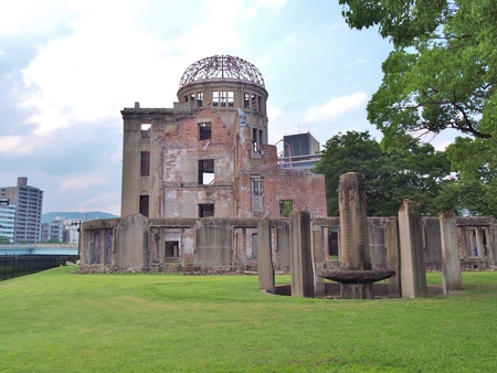 atomic bomb: Hiroshima Peace Memorial, commonly called the Atomic Bomb Dome (Genbaku Dome). This dome was the only structure left standing in the area where the first atomic bomb exploded on 6 August 1945.