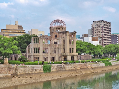 atomic bomb: HIROSHIMA, JAPAN - JULY 18, 2016: Hiroshima Peace Memorial, commonly called the Atomic Bomb Dome (Genbaku Dome). This dome is part of the Hiroshima Peace Memorial Park, UNESCO World Heritage Site. Editorial