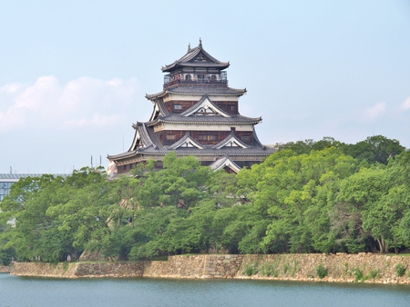 rebuilt: Hiroshima Castle on the side of Otagawa river in summer. The castle was destroyed by the atomic bombing on August 6, 1945 but was rebuilt in 1958. Editorial