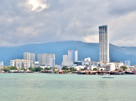 View of George Town, the capital city of the Malaysian state of Penang, is located at the northeastern tip of Penang Island, Malaysia.