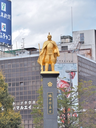 unify: Gifu, Japan - February 18, 2017: Statue of Oda Nobunaga at Gifu station, Japan. He was a powerful Daimyo of Japan in the late 16th century who attempted to unify Japan during the late Sengoku period.