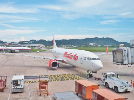 Penang, Malaysia - May 13, 2017: Boeing 737-800 Malindo Air landed at Penang International Airport in Penang Island. Malindo Air is a Malaysian airline with headquarters in Selangor, Malaysia.