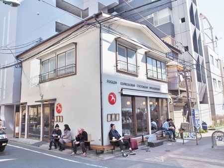 Tokyo, Japan - February 25, 2017: A small cafe called Fuglen located in Shibuya, Tokyo. Fuglen has been operating in Oslo, Norway since 1963 and Fuglen Tokyo opened their door in May, 2012.