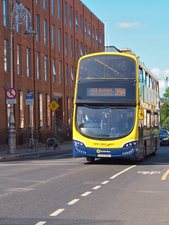 Dublin, Ireland - May 30, 2017:A double-decker bus no.39A on the street in Dublin, the capital city of Ireland. Dublin is served by a network of nearly 200 bus routes which cover the city and suburbs. Editöryel