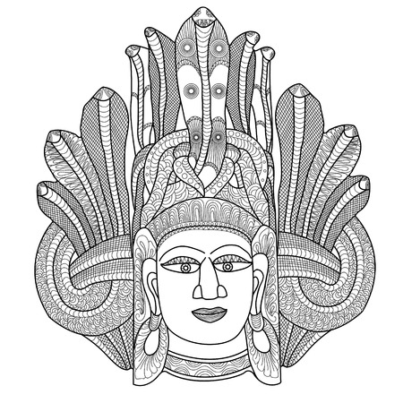 Ethnic mask. Handwritten doodles.Printing style on t-shirts, banners, posters, cover. Coloring page book for adults and children. Tattoos. Vector. Illustration