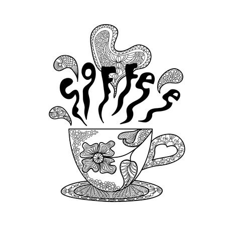 Coffee cup with a beautiful pattern. Hands sketch doodle element. Printing on T-shirts, banners, posters, cover. Иллюстрация