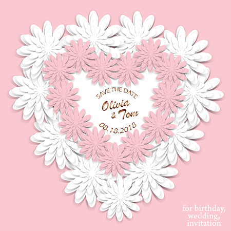 Wedding invitation. Wedding cards - save the date. Romantic design with paper cut white and pink flowers. Heart of three-dimensional flowers. For invitations, wedding projects, birthday and other holidays.