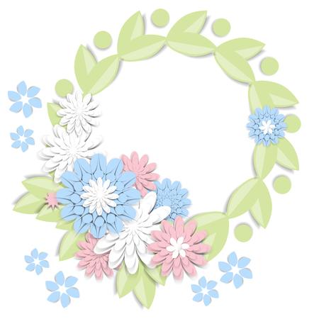 Greeting card with 3d paper flowers and frame for text. Romantic design with paper cut flowers in pastel colors. For invitations, wedding, birthday and other festive projects. Flower wreath. Illustration