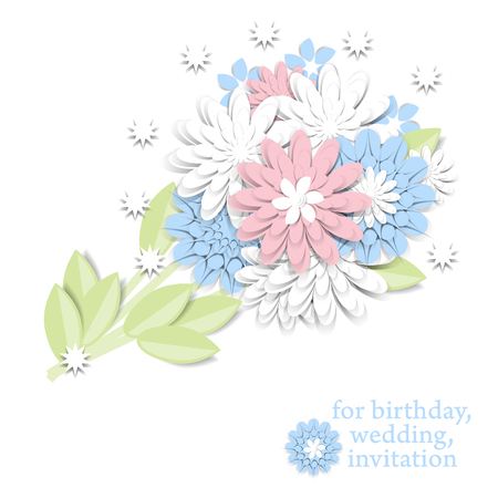 Greeting card with 3d paper flowers and place for text. Romantic design with paper cut flovers in pastel colors. For invitations, wedding, birthday and other festive projects. Bridal bouquet. Illustration